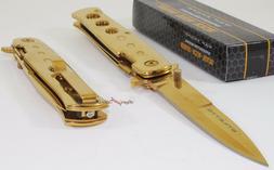 TAC-FORCE Super Knife Gold Godfather Stiletto Spring Assiste
