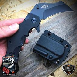 "7.5"" TACTICAL COMBAT KARAMBIT OPEN FOLDING POCKET KNIFE + QU"