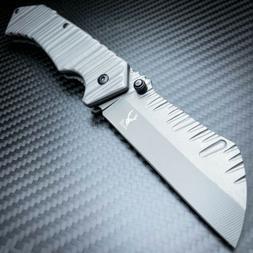 TACTICAL Spring Assisted Open Pocket Knife CLEAVER RAZOR BLA