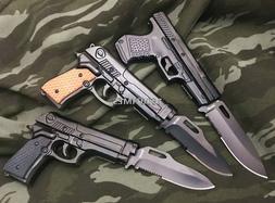 Tactical Spring Assisted Pistol Gun Folding Pocket Knife w/