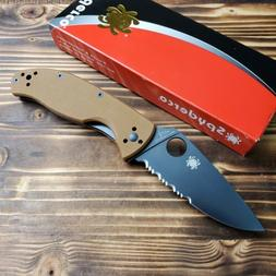 Spyderco Tenacious Brown G10 Handle Combo Edge Linerlock Kni