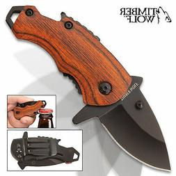 Timber Wolf MINI Money Clip Folding Pocket Knife Spring Assi