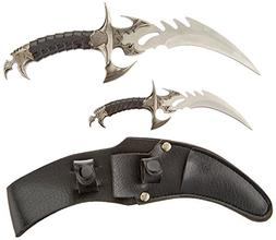 Twin Knife Fantasy Dagger Knives w/ Leather Sheath Stainless