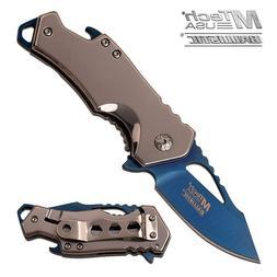 """MTech USA ® 3"""" Blue Titanium Blade, Bottle Opener, Spring A"""