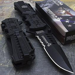 Mtech USA USMC Marines Black Spring Assisted Opening Tactica