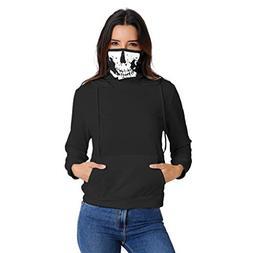 Mysky Fashion Women Skull Print Mask Hooded Sweatshirt Blous
